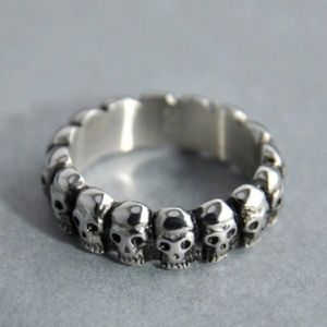 Edgy Punk SILVER Skulls Band Stacking Ring